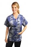 Top v neck 2 pocket half sleeve in Blue and white flower Print