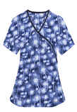 Printed scrub set mock wrap 5 pocket half sleeve in Blue Fire Work Print With Black Piping  (top 3 pocket with black bottom 2 pocket boot cut)