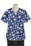 Printed scrub set 4 pocket ladies half sleeve Blue Fire Work Print (2 pocket top and 2 pocket black pant)
