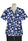 Top v neck 2 pocket half sleeve in Blue Fire Work Print