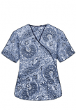 Printed scrub set mock wrap 5 pocket half sleeve in Blue Paisley Print with black piping  (top 3 pocket with black bottom 2 pocket boot cut)