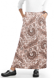 Cargo pockets ladies skirt A Line Full Elastic waistband ladies skirt in Brown Paisley Print