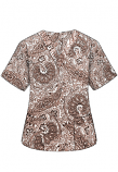 Printed scrub set 4 pocket ladies half sleeve Brown Paisley Print (2 pocket top and 2 pocket black pant)