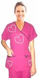 Stylish top love heart style mockwrap top 3 pocket half sleeve