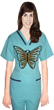 Stylish top big silver butterfly  contrast bias v-neck tunic style top 2 pocket half sleeve