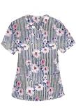 Top v neck 2 pocket half sleeve in Flower and Line Print