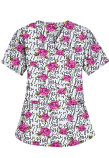 Top v neck 2 pocket half sleeve in Hey You Print