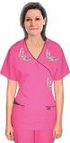 Stylish top silver butterfly mock wrap top 3 pocket half sleeve