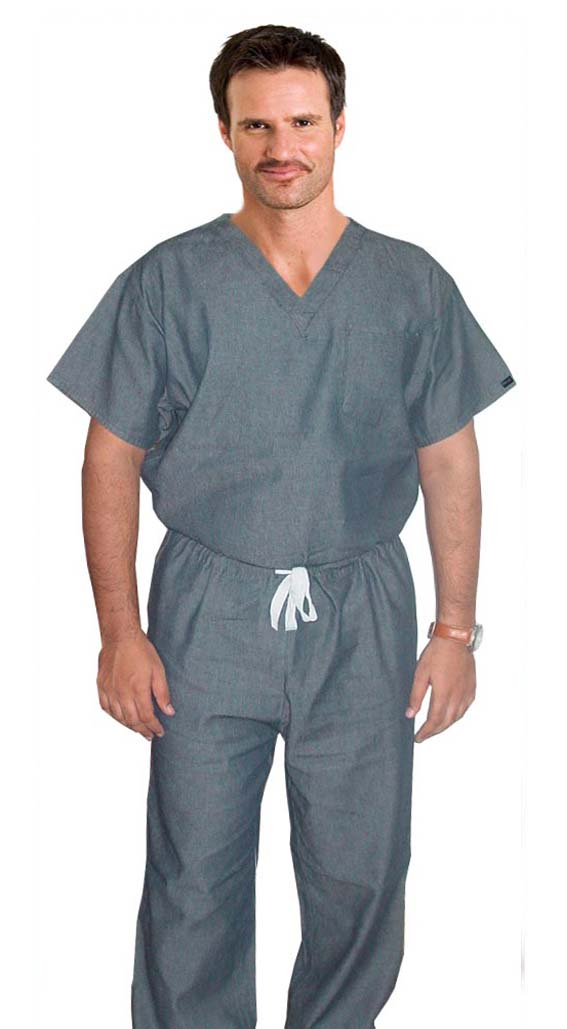 Denim scrub set 2 pocket normal half sleeve unisex solid (top 1 pocket with bottom 1 pocket)