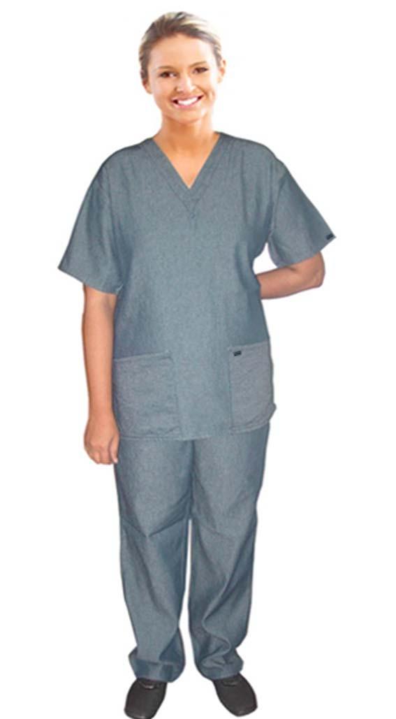 Denim scrub set 4 pocket solid half sleeve ladies (2 pocket top and 2 pocket pant)