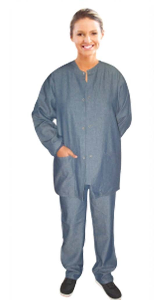 Denim jacket 3 pocket solid full sleeve unisex with rib