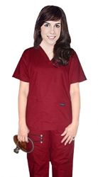 Stretchable Scrub set 5 pocket solid ladies half sleeve (top 2 pocket with 1 pencil pocket and pant with 2 cargo pocket) in 35% Cotton 63% Polyester 2% Spandex