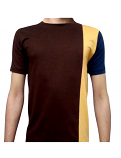 Unisex round neck solid t-shirt-half-sleeves 100 perc cotton in 3 Contrast Color (Brown-Orange-Navy)