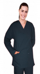 Stretchable Scrub set 4 pocket solid full sleeve ladies (2 pocket top and 2 pocket pant) in 35% Cotton 63% Polyester 2% Spandex