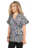 Printed scrub set mock wrap 5 pocket half sleeve in Leopard print with black piping (top 3 pocket with black  bottom 2 pocket boot cut)