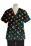 Top v neck 2 pocket half sleeve in Navy Print with Red Flower Print