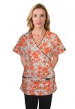 Printed scrub set mock wrap 5 pocket half sleeve petal orange print with black  (top 3 pocket with black bottom 2 pocket boot cut)