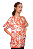 Top v neck 2 pocket half sleeve in petal orange print