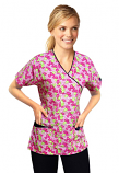 Printed scrub set mock wrap 5 pocket half sleeve in petal story print with black piping (top 3 pocket with black  bottom 2 pocket boot cut)