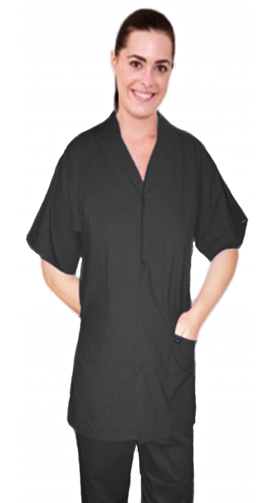 Stretchable Scrub set 4 pocket solid ladies front open collar with snap buttons half sleeve (2 pocket top 2 pocket boot cut pant) in 35% Cotton 63% Polyester 2% Spandex