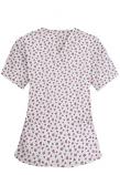 Top v neck 2 pocket half sleeve in pink and black flower print