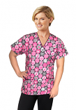 Printed scrub set mock wrap 5 pocket half sleeve pink ribbon print with black (top 3 pocket with black   bottom 2 pocket boot cut)