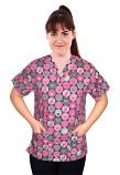 Top v neck 2 pocket half sleeve in pink ribbon