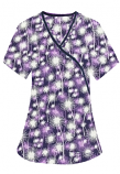 Top mock wrap 3 pocket half sleeve in Purple Fire Work Print with black piping
