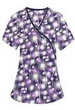 Printed scrub set mock wrap 5 pocket half sleeve in Purple Fire Work Print With Black Piping (top 3 pocket with black  bottom 2 pocket boot cut)