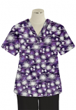 Top v neck 2 pocket half sleeve in Purple Fire Work Print