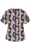 Top v neck 2 pocket half sleeve in Red and Beige flowers with blue background
