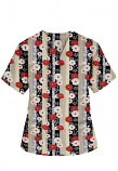 Top v neck 2 pocket half sleeve in Red and Beige flowers with Grey backgroud