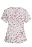 Top v neck 2 pocket half sleeve in Red and Black flower Print