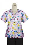 Hello Kitty Printed Set 4 Pocket Ladies Half Sleeve (2 Pocket Top and 2 Pocket Black Pant)