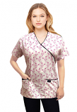 Top mock wrap 3 pocket half sleeve in Small Pink flower Print with black piping