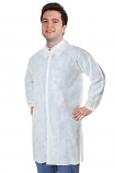 Disposable lab coat unisex full sleeve without pocket with front plastic snap buttons