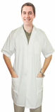 Twill labcoat 3 pocket unisex solid half sleeve plastic buttons in 36  38 40  42  lengths