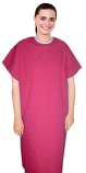 Microfiber patient gown back open half sleeve with contrast piping , tie-able, Sizes XS-9X
