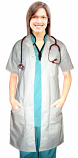 Poplin labcoat ladies half sleeve with plastic buttons 3 pocket solid in 36 38 40 42 lengths