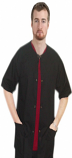 Microfiber Front open 3 pocket unisex solid half sleeve top with snap buttons