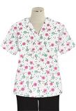 Top v neck 2 pocket half sleeve in Cherry Blossom Print