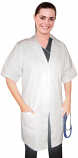 Poplin labcoat ladies Half sleeve with plastic buttons 3 pockets solid pleated (48 perc cotton 52 perc polyester) in 36 38 40 42 lengths