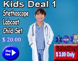 Kids deal 1(stethoscope,kid labcoat,kids scrub set)