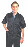 Barber jacket with collar 3 pocket half sleeve with zipper (nylon fabric) 100 perc polyster soft finish