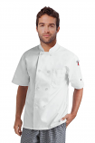 Twill Men's Short Sleeve Chef Coat With 1 Chest pocket and 1 Sleeve Pocket - Button Front Closure(48 perc cotton 52 perc polyester)