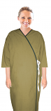 Microfiber patient gown front open half sleeve with contrast piping  tie-able, Sizes XS-9X