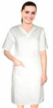 Nursing dress half sleeve elastic waist v neck with 3 front pockets below knee length