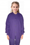 Child scrub jacket solid full sleeve with rib 3 pocket snap button