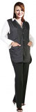 Barber jacket sleeve less without collar ladies 2 front pocket with front snap button style poplin fabric