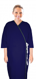 Microfiber patient gown front open 3/4 sleeve with contrast piping  tie able, Sizes XS-9X